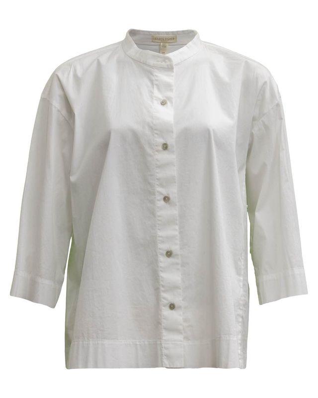 Stand Up Collar Shirt White