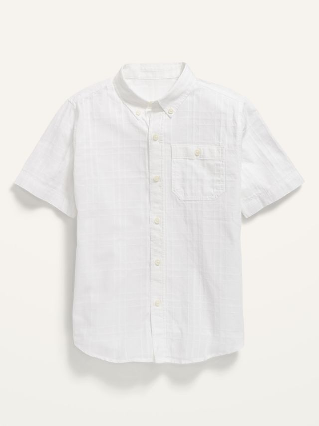 Short-Sleeve Button-Front Dobby Pocket Shirt for Boys