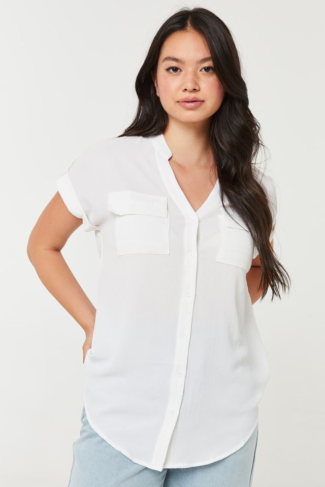 Ardene Long Button-Up Shirt With Band Collar