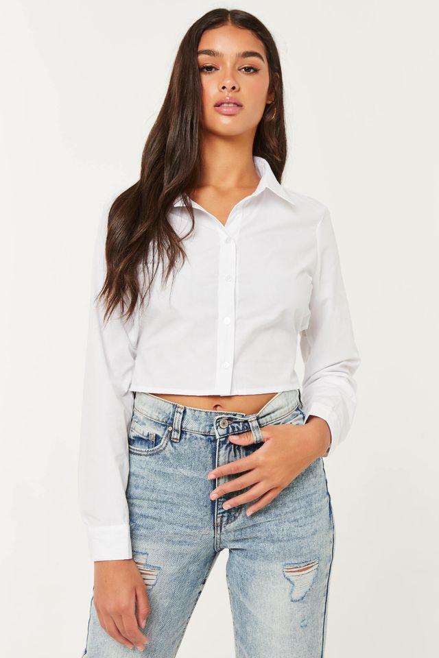 Ardene Poplin Button-Up Shirt With Tie Back