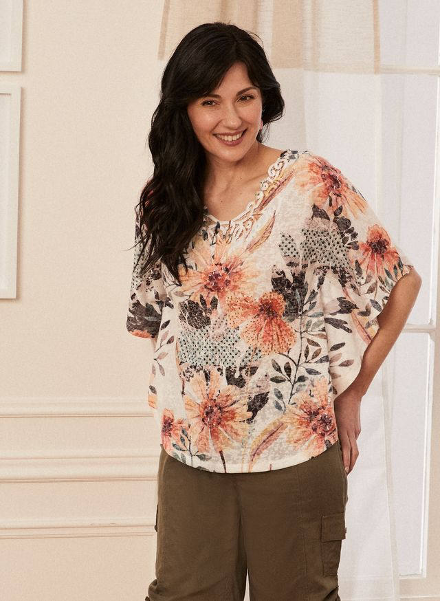 Laura Petites - Petite Women's Floral Print Lace Detail Tee Brown