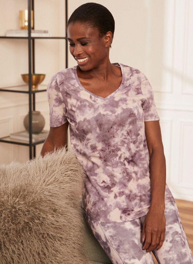 Laura - Women's Tie Dye Print T-Shirt Purple