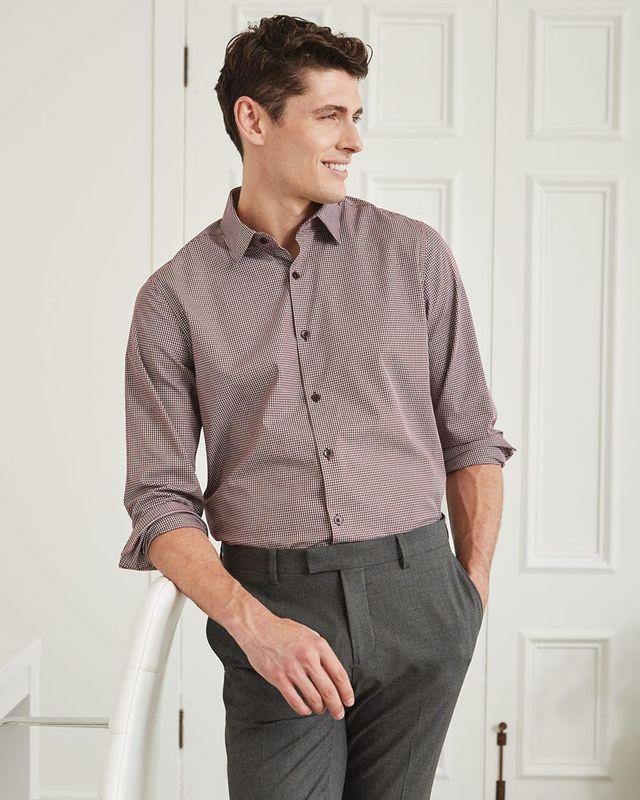 RW&Co Plaid Burgundy Regular Dress Shirt men (M,Burgundy)